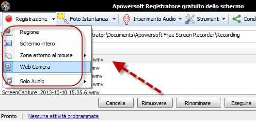 registrare video da webcam