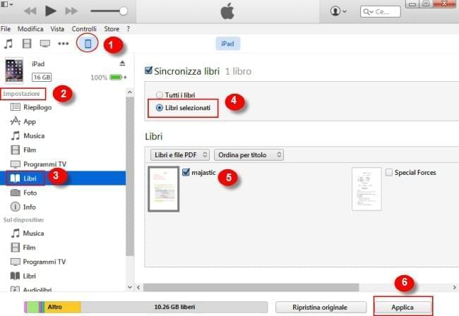 sincronizzare iBooks per iPhone